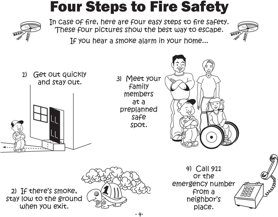 .. 1) Get out quickly and stay out. 3) Meet your family members at a preplanned safe spot.