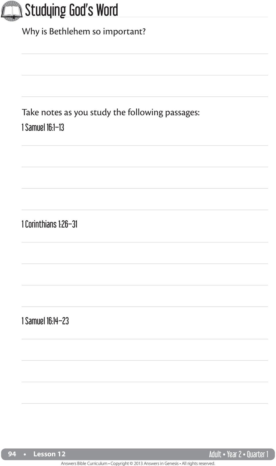 Take notes as you study the following passages: 1