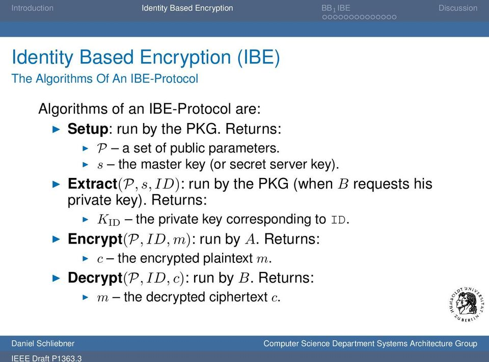 Extract(P, s, ID): run by the PKG (when B requests his private key).