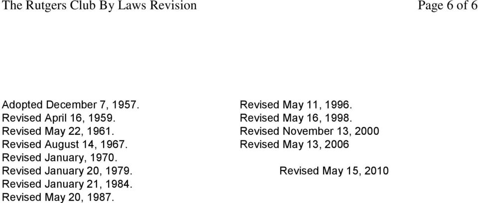 Revised May 22, 1961. Revised November 13, 2000 Revised August 14, 1967.