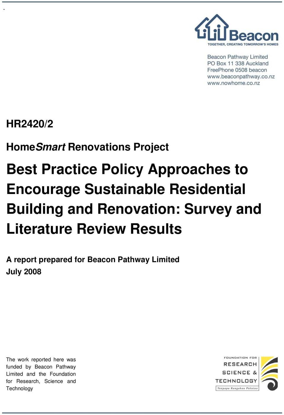 Best practice policy approaches to encourage sustainable for Renovation review