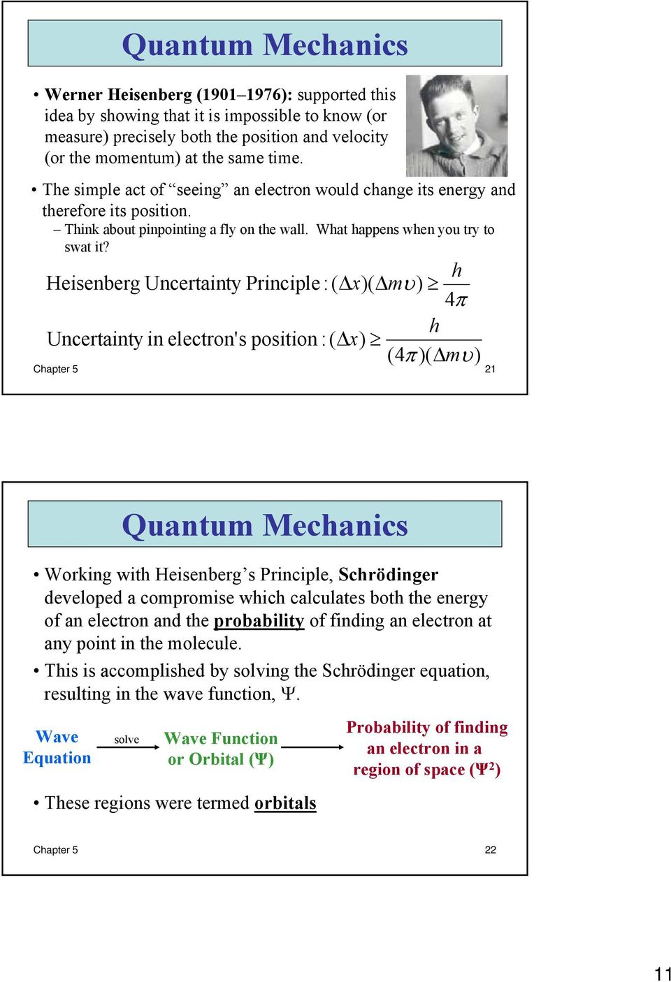 h Heisenberg Uncertainty Principle :( x)( mυ) 4π h Uncertainty in electron's position :( x) (4π )( mυ) Chapter 5 21 Quantum Mechanics Working with Heisenberg s Principle, Schrödinger developed a