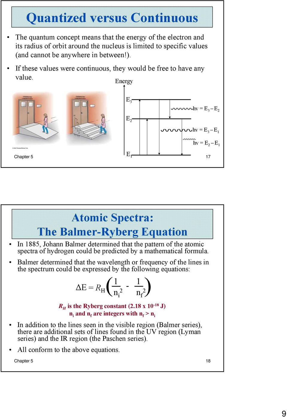Energy E 3 hv = E 3 E 2 E 2 hv = E 3 E 1 hv = E 2 E 1 Chapter 5 E 1 17 Atomic Spectra: The Balmer-Ryberg Equation In 1885, Johann Balmer determined that the pattern of the atomic spectra of hydrogen