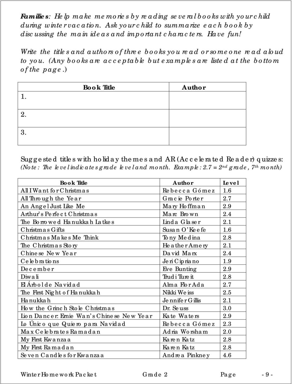 Book Title Author Suggested titles with holiday themes and AR (Accelerated Reader) quizzes: (Note: The level indicates grade level and month. Example: 2.