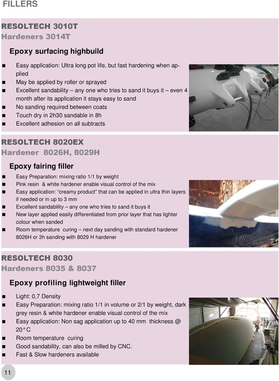 RESOLTECH 8020EX Hardener 8026H, 8029H Epoxy fairing filler Easy Preparation: mixing ratio 1/1 by weight Pink resin & white hardener enable visual control of the mix Easy application: creamy product