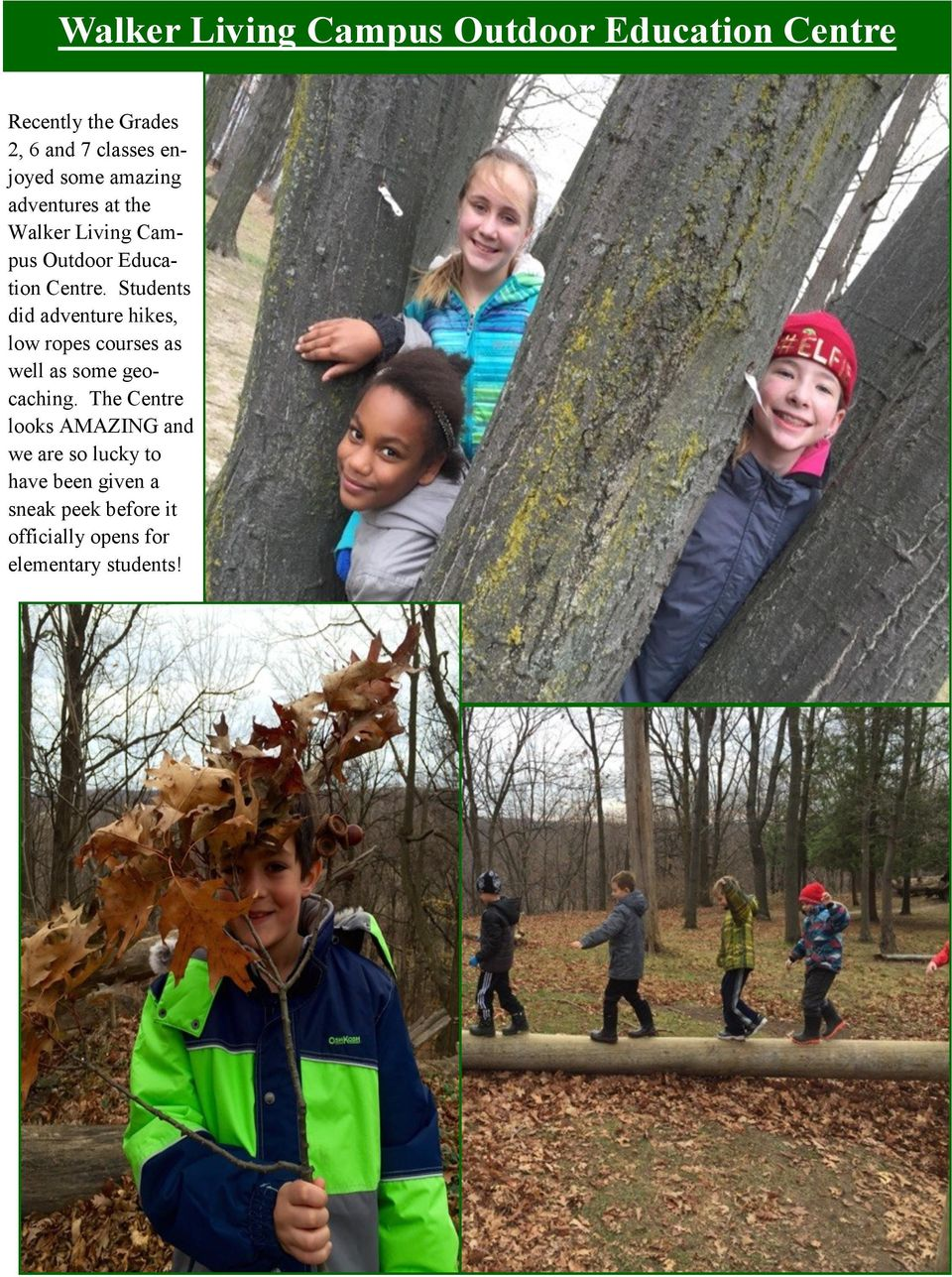 Students did adventure hikes, low ropes courses as well as some geocaching.