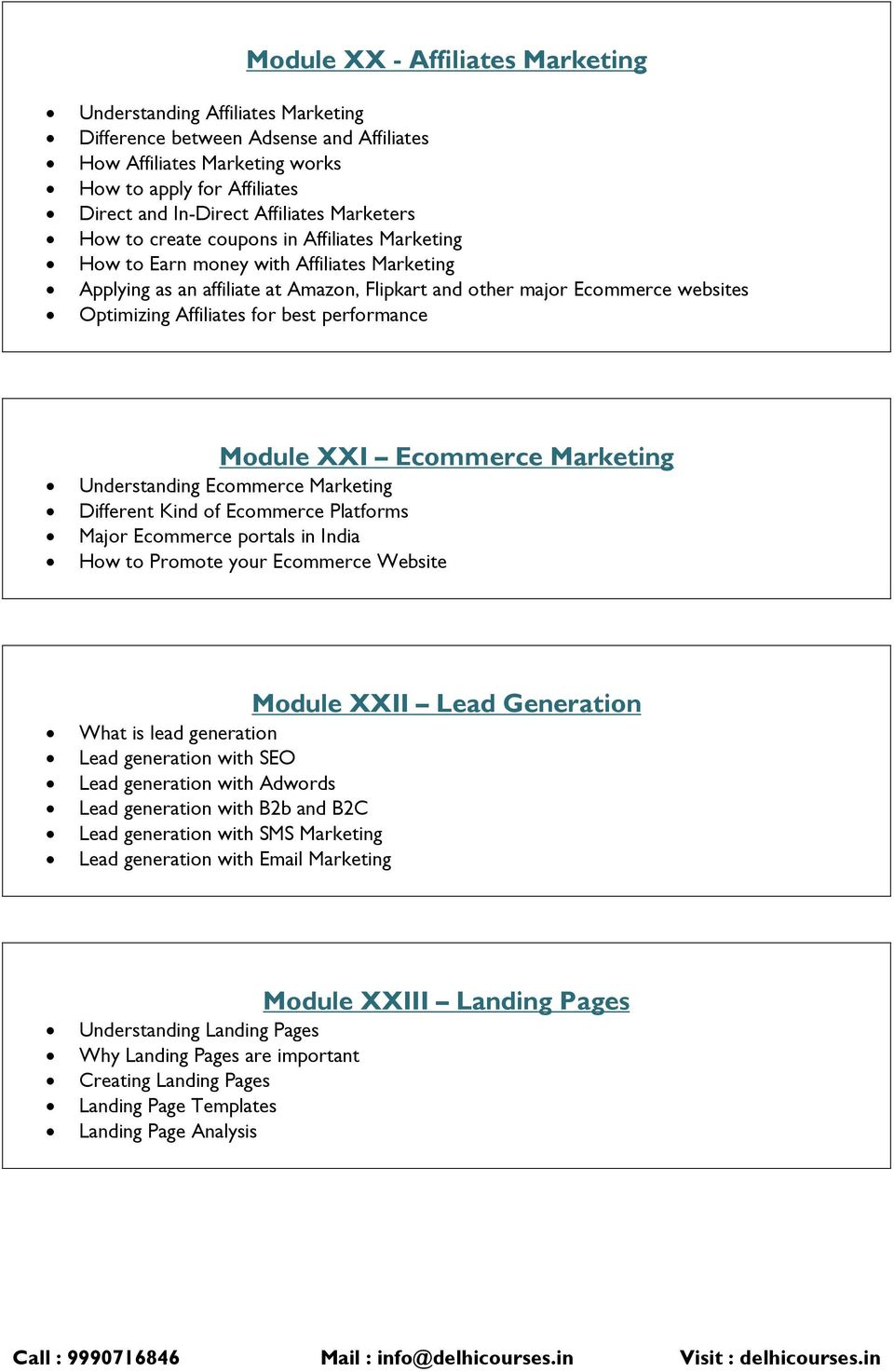 Optimizing Affiliates for best performance Module XXI Ecommerce Marketing Understanding Ecommerce Marketing Different Kind of Ecommerce Platforms Major Ecommerce portals in India How to Promote your