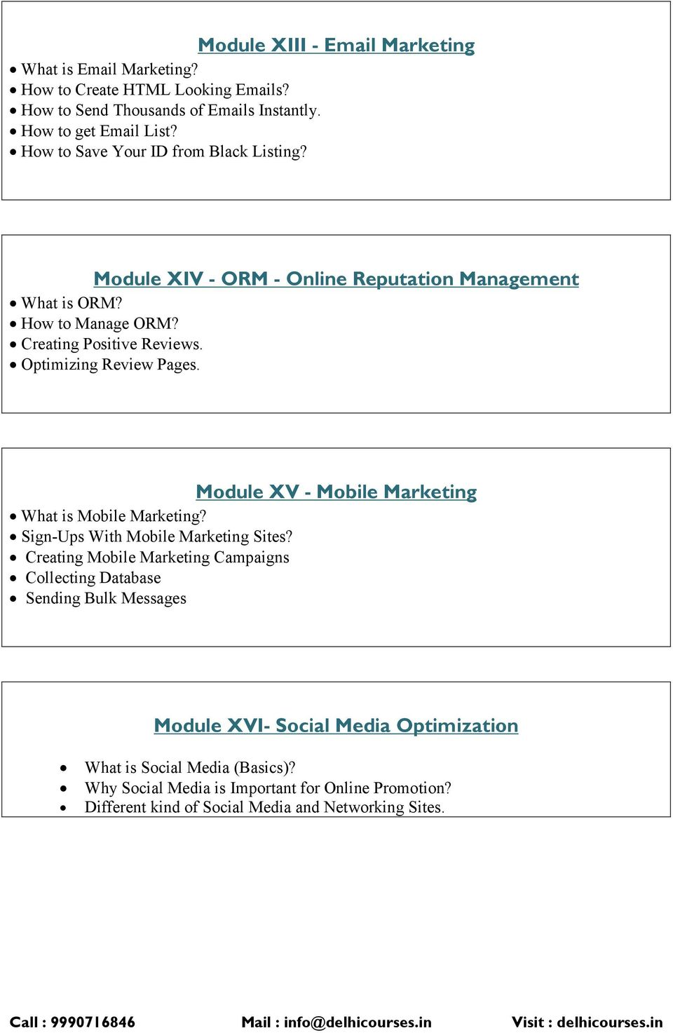 Optimizing Review Pages. Module XV - Mobile Marketing What is Mobile Marketing? Sign-Ups With Mobile Marketing Sites?