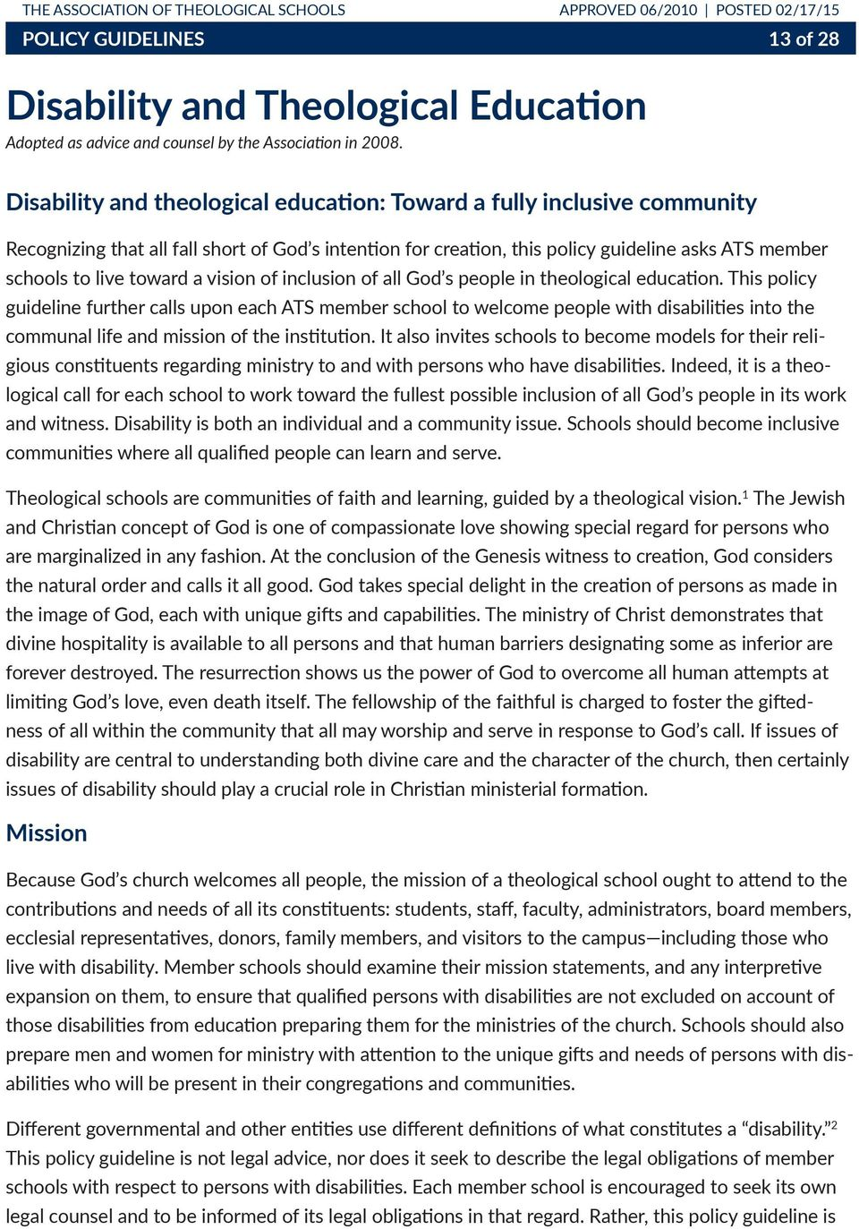 a vision of inclusion of all God s people in theological education.