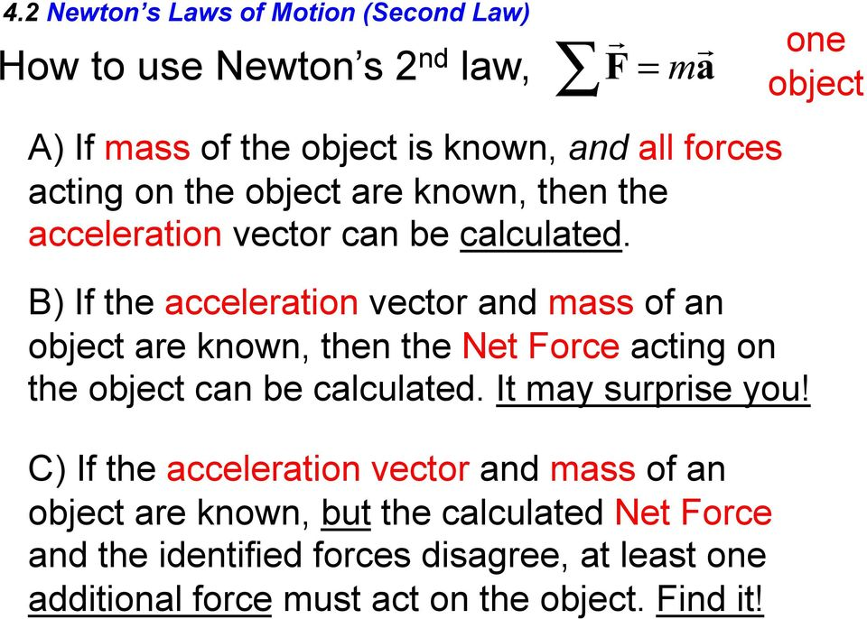 B) If the acceleration vector and mass of an object are known, then the Net Force acting on the object can be calculated.