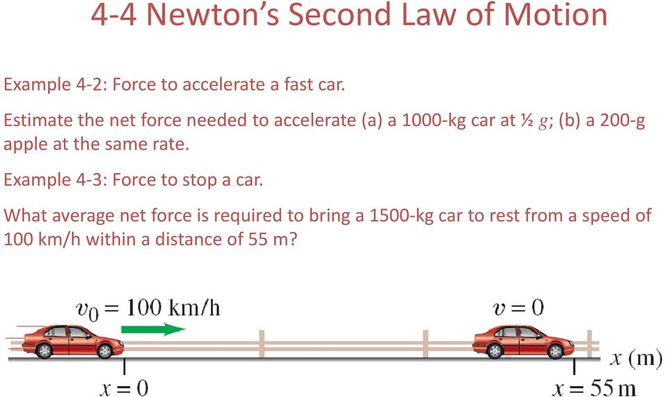 the same rate. Example 4 3: Force to stop a car.
