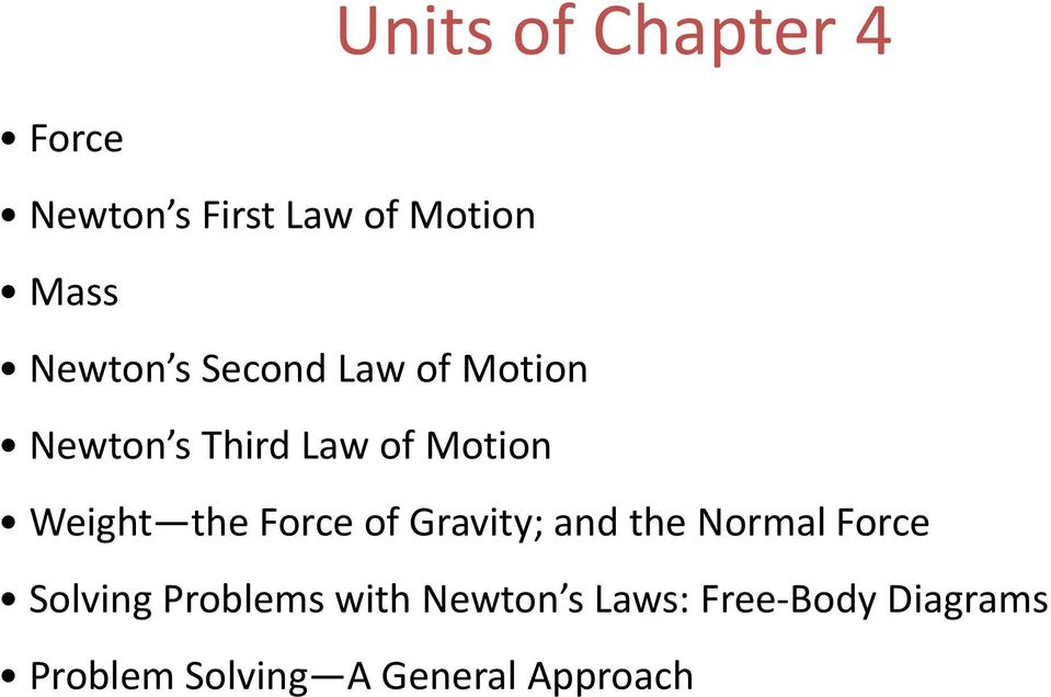 Weight the Force of Gravity; and the Normal Force Solving
