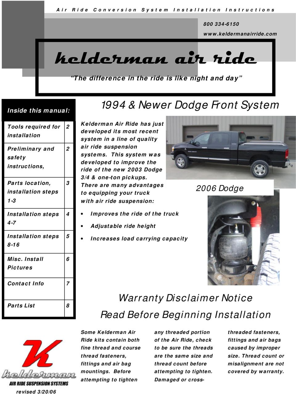 most recent system in a line of quality Preliminary and safety instructions, 2 air ride suspension systems.