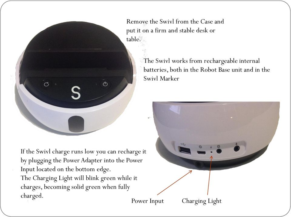 the Swivl charge runs low you can recharge it by plugging the Power Adapter into the Power Input located on