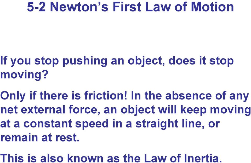 In the absence of any net external force, an object will keep moving
