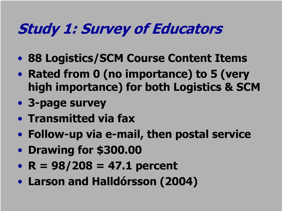 -page survey Transmitted via fax Follow-up via e-mail, then postal