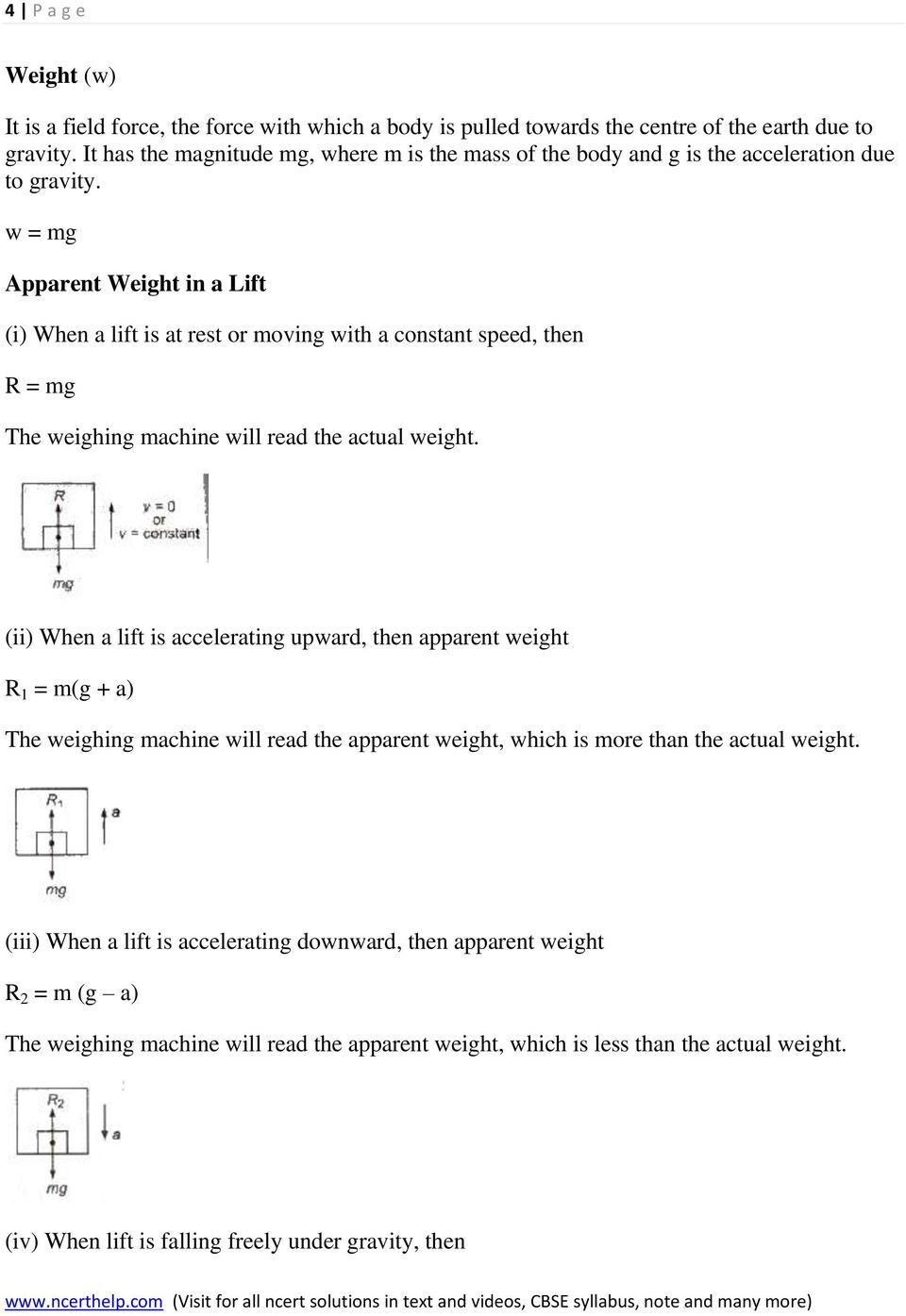 w = mg Apparent Weight in a Lift (i) When a lift is at rest or moving with a constant speed, then R = mg The weighing machine will read the actual weight.