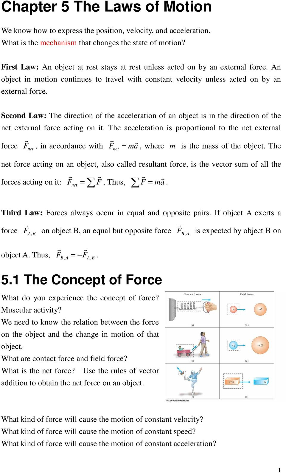 Chapter 5 The Laws Of Motion Pdf External Forces That Act On An Object As A Result Its He Acceleatin I Pptinal T Net Extenal Fce In Accdance With