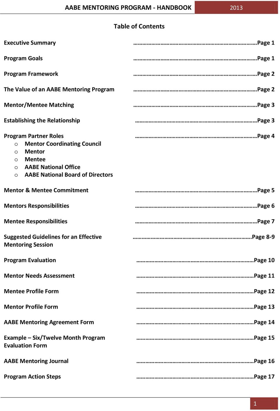 Mentee Commitment Page 5 Mentors Responsibilities Page 6 Mentee Responsibilities Page 7 Suggested Guidelines for an Effective Mentoring Session.