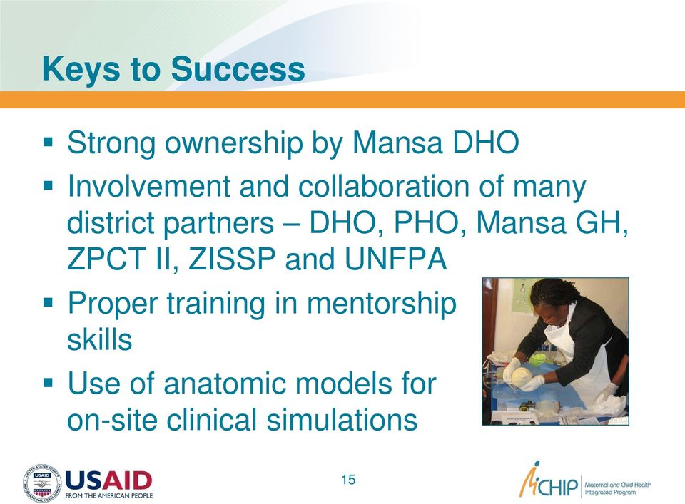 GH, ZPCT II, ZISSP and UNFPA Proper training in mentorship