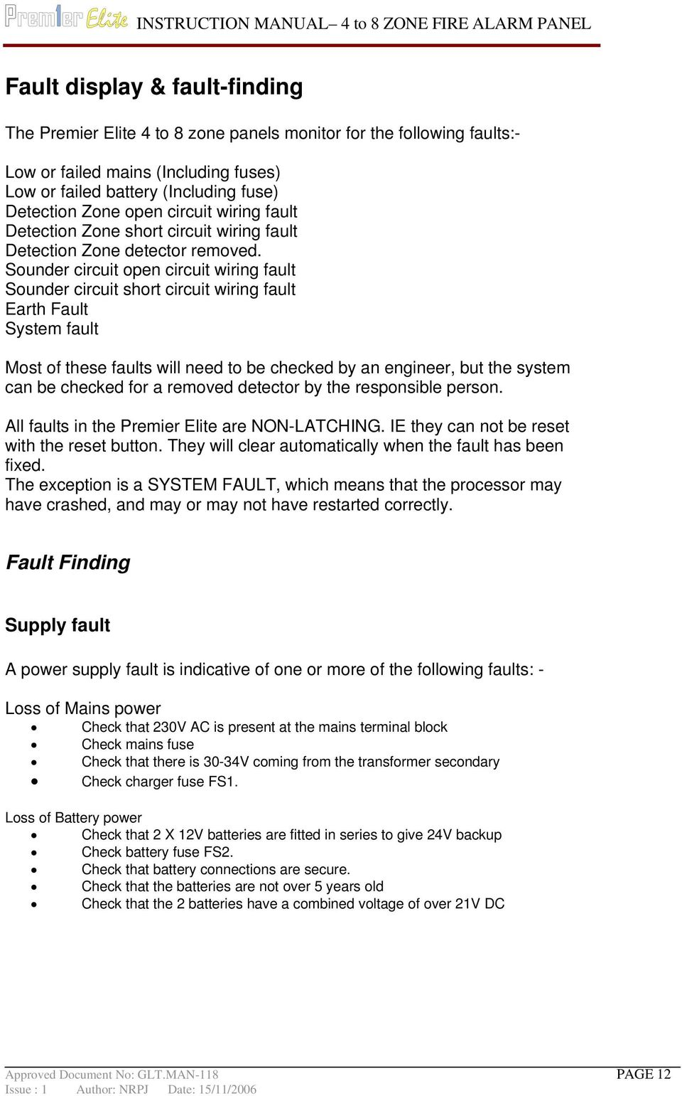 Instruction Manual 4 8 Zone Facp Pdf Short Circuit Detector Sounder Open Wiring Fault Earth System