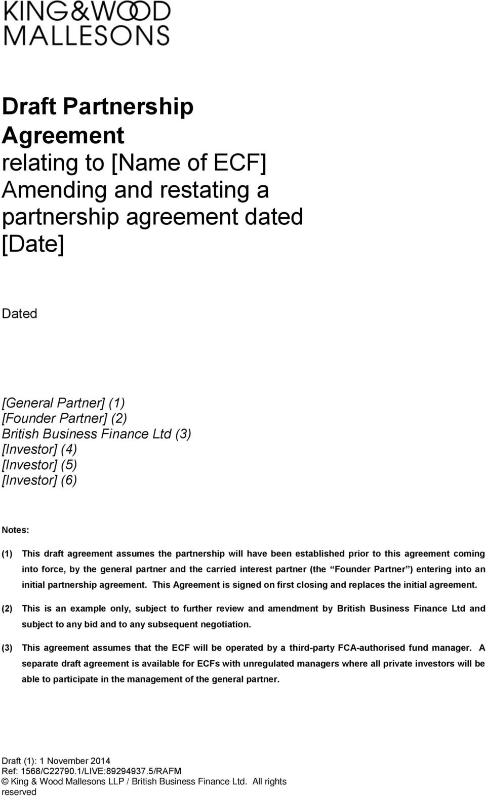 Draft Partnership Agreement Relating To Name Of Ecf Amending And
