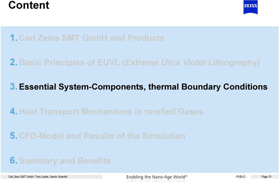 Essential System-Components, thermal Boundary Conditions 4.