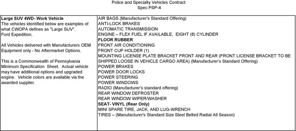 Actual vehicle may have additional options and upgraded engine. Vehicle colors are available via the awarded supplier.