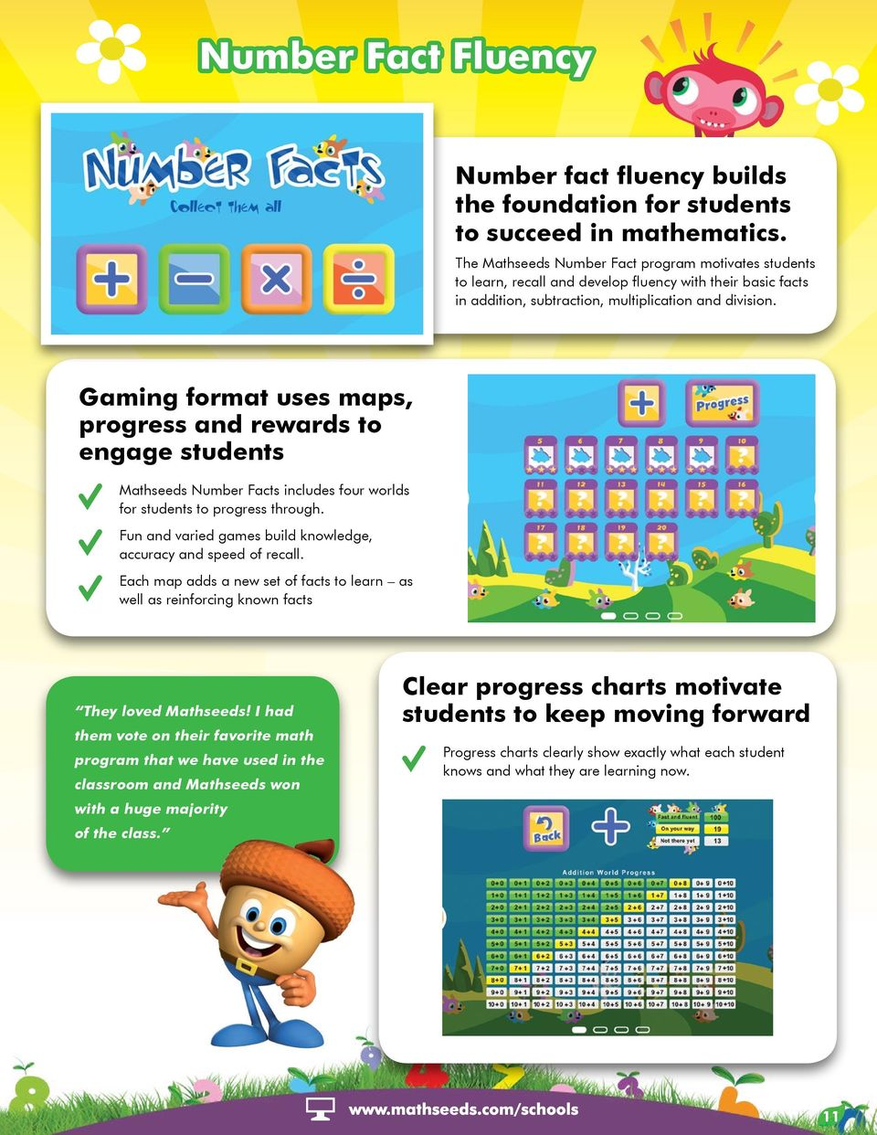 Gaming format uses maps, progress and rewards to engage students Mathseeds Number Facts includes four worlds for students to progress through.