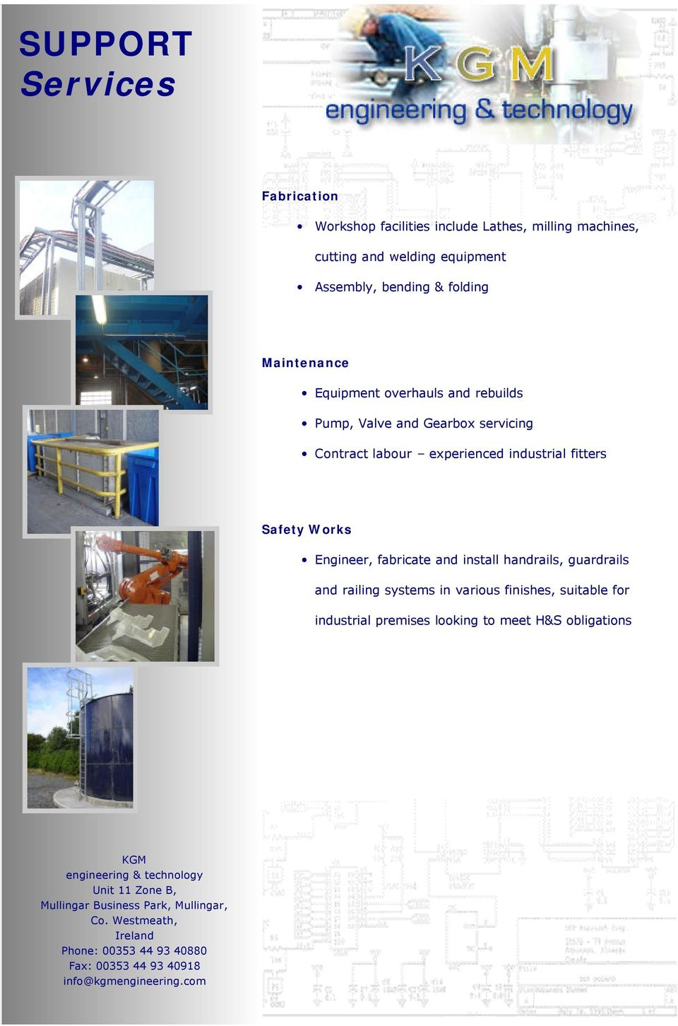 Contract labour experienced industrial fitters Safety Works Engineer, fabricate and install handrails,