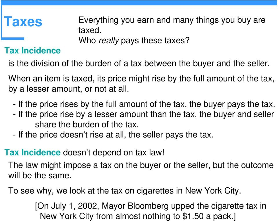 - If the price rise by a lesser amount than the tax, the buyer and seller share the burden of the tax. - If the price doesn t rise at all, the seller pays the tax.