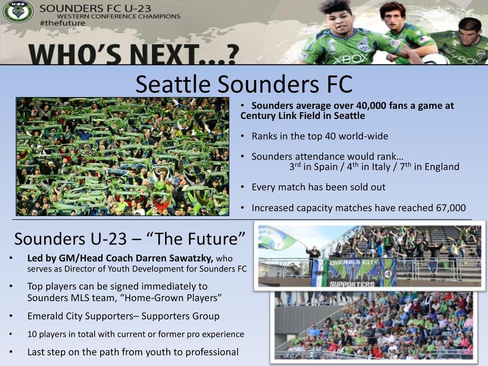 experience Last step on the path from youth to professional Sounders average over 40,000 fans a game at Century Link Field in Seattle Ranks in the top 40