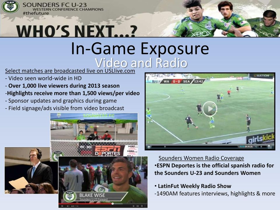 views/per video - Sponsor updates and graphics during game - Field signage/ads visible from video broadcast Sounders Women