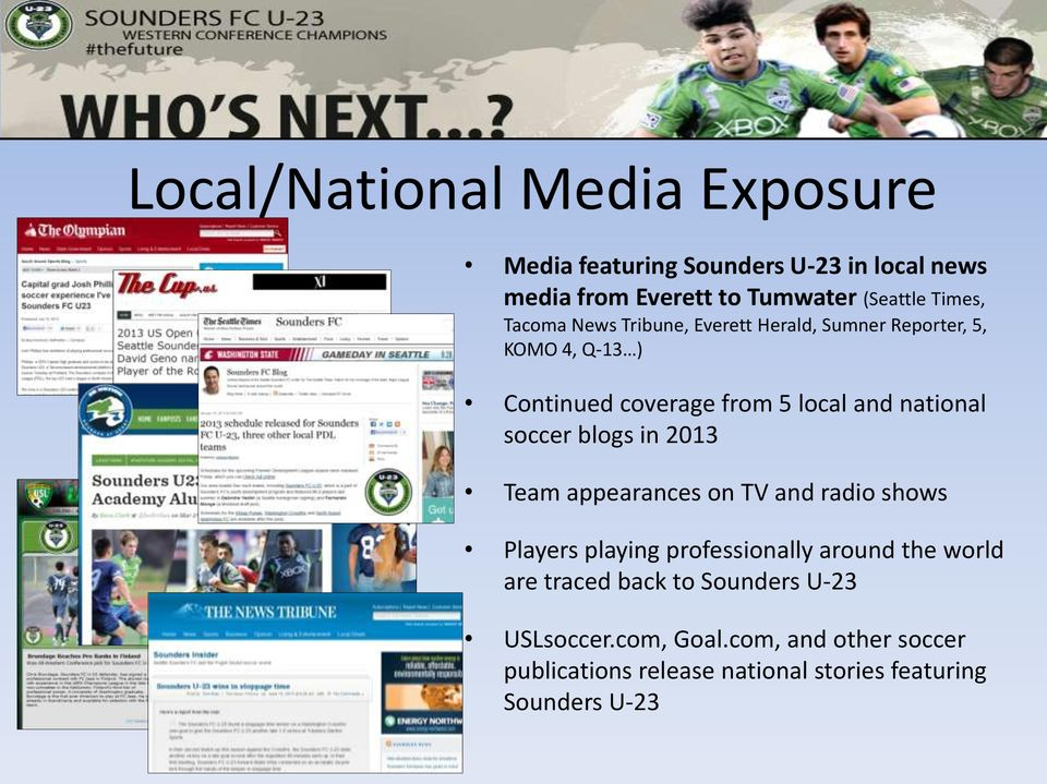 soccer blogs in 2013 Team appearances on TV and radio shows Players playing professionally around the world are traced