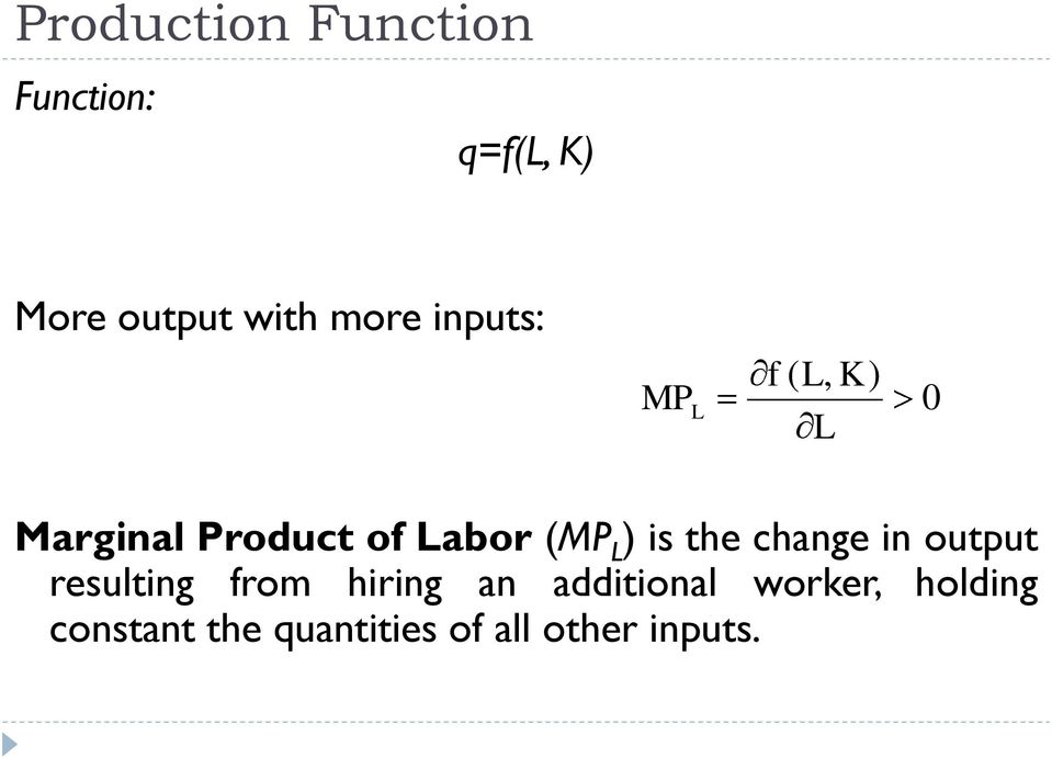 is the change in output resulting from hiring an additional
