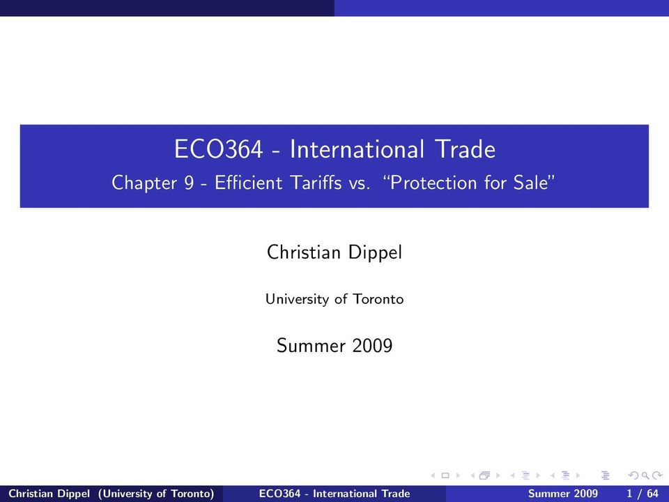 Protection for Sale Christian Dippel University of