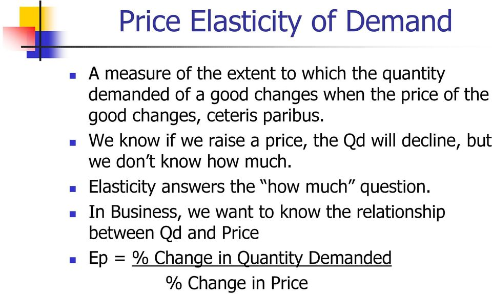 We know if we raise a price, the Qd will decline, but we don t know how much.