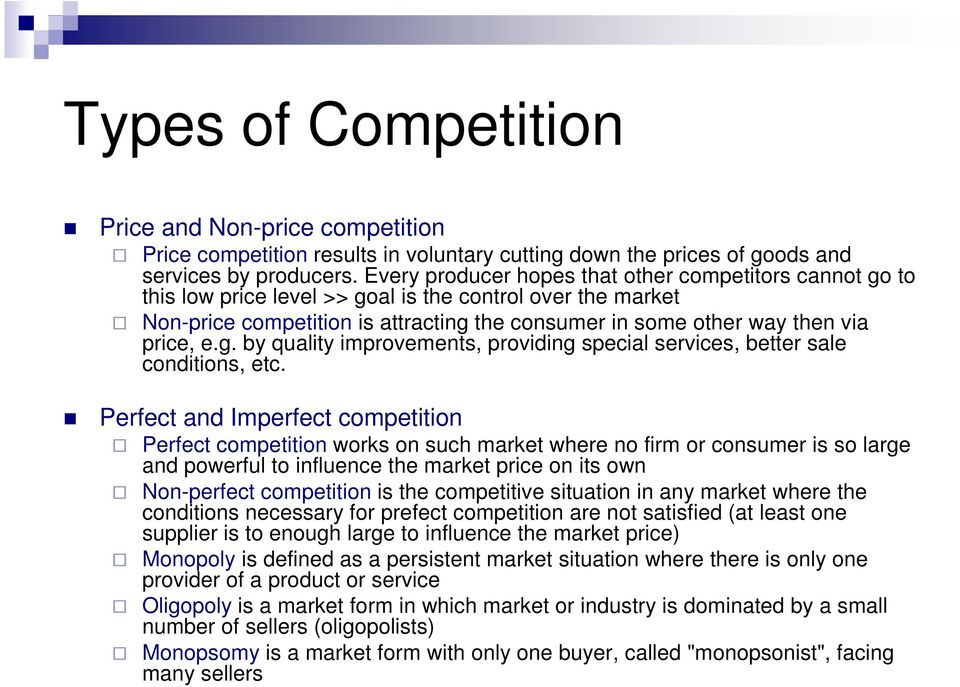 pricing under imperfect competition Tion of the hedonic price equation under imperfect competition and include the  public sector variables in the empirical model the extent to which market.