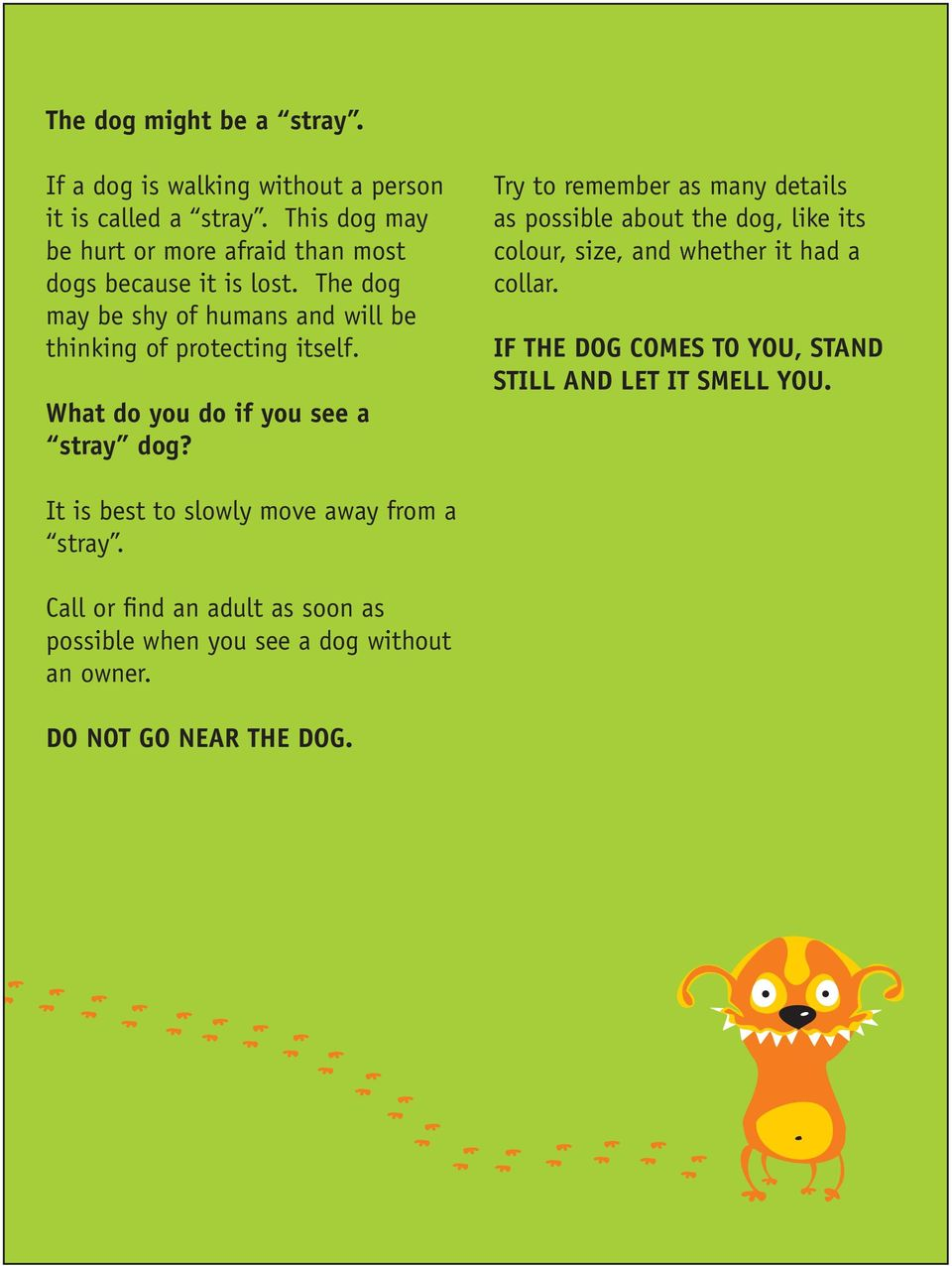 What do you do if you see a stray dog?