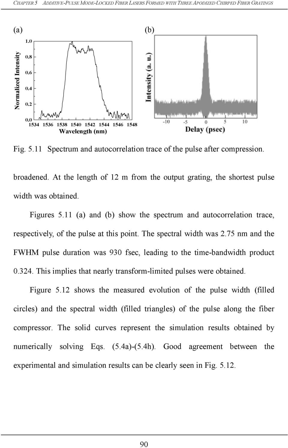 The spectral width was.75 nm and the FWHM pulse duration was 93 fsec, leading to the time-bandwidth product.34. This implies that nearly transform-limited pulses were obtained. Figure 5.