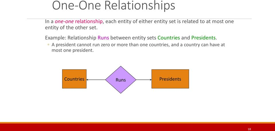 Example: Relationship Runs between entity sets Countries and Presidents.