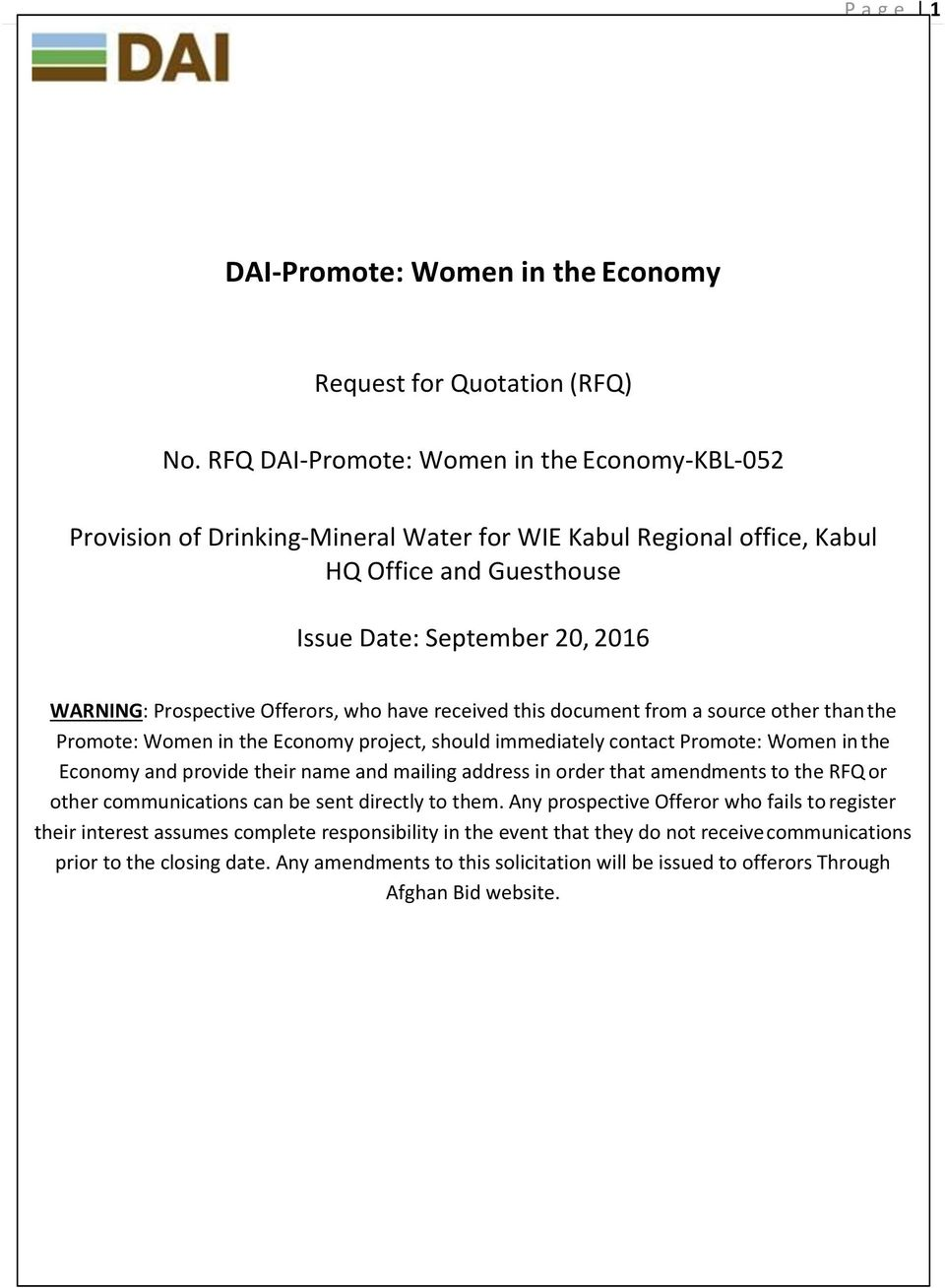 Office Supplies, as follows: DAI-Promote: Women in the Economy Request for Quotation (RFQ) No.