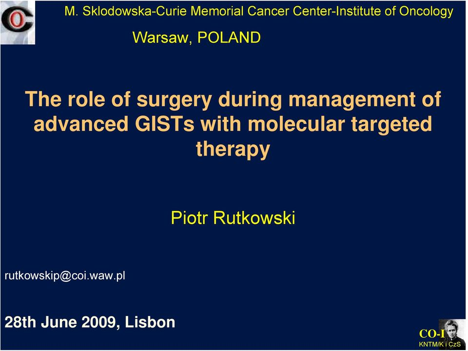 management of advanced GISTs with molecular targeted