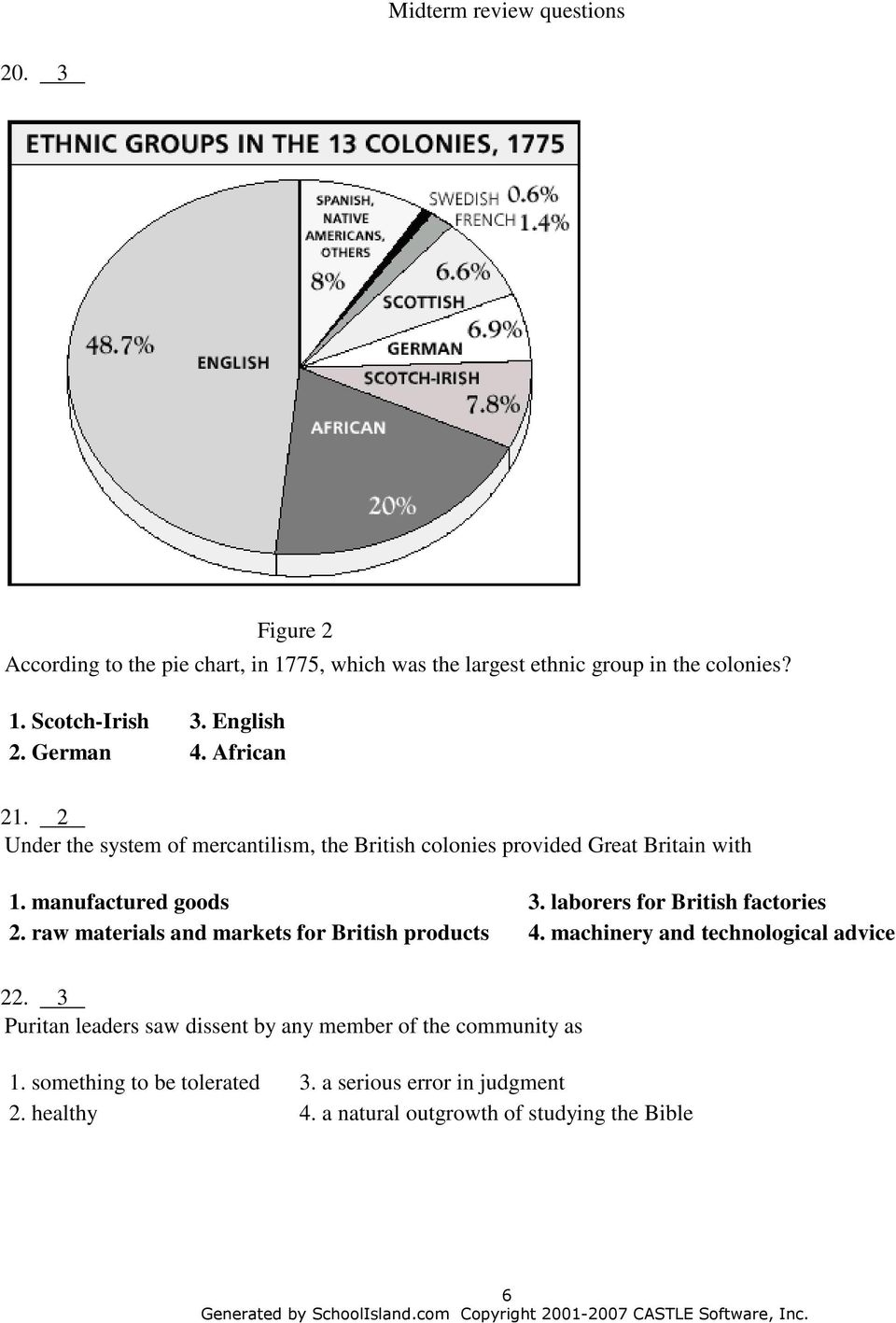 laborers for British factories 2. raw materials and markets for British products 4. machinery and technological advice 22.