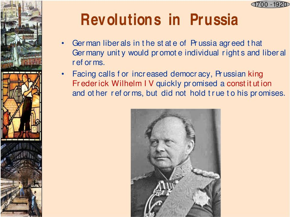 Facing calls for increased democracy, Prussian king Frederick Wilhelm IV