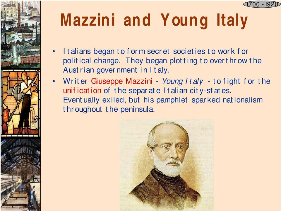 Writer Giuseppe Mazzini - Young Italy - to fight for the unification of the separate