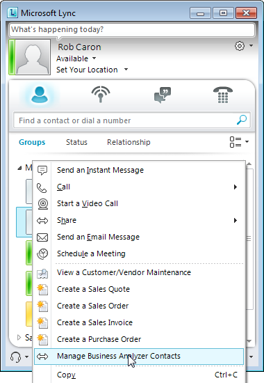 CHAPTER 21 UNIFIED COMMUNICATIONS Lync action for Business Analyzer You can select an action from Lync to add contacts to reports displayed in Business Analyzer or to remove contacts from reports.