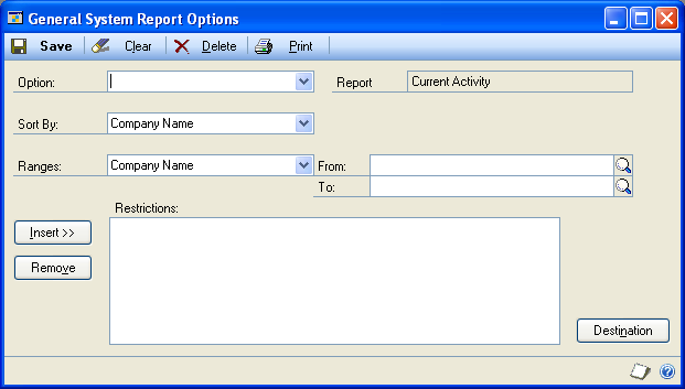 CHAPTER 23 SYSTEM AND COMPANY REPORTS System reports provide you with information about Microsoft Dynamics GP users, current activity in the system, and systemwide settings.
