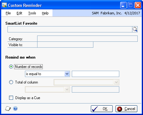 CHAPTER 25 REMINDERS AND TASKS 2. Choose New to open the Custom Reminder window. 3. Enter a SmartList favorite.