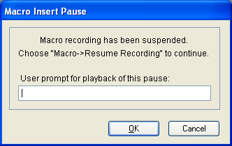 CHAPTER 27 MACROS To record a data entry step: 1. Complete steps 1 through 4 in the Recording a macro on page 149 procedure. 2. When you reach the point where you need to enter data or perform an action, on the Microsoft Dynamics GP menu, choose Tools >> Macro >> Insert Pause.